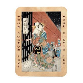 Señora clásica del geisha del vintage japaese fres iman de vinilo