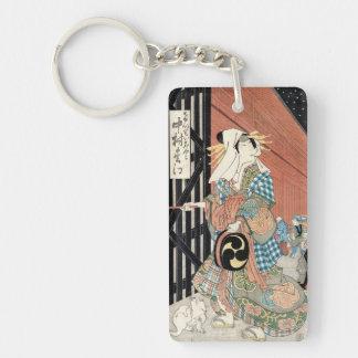 Señora clásica del geisha del vintage japaese fres llavero rectangular acrílico a doble cara