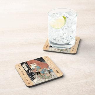Señora clásica del geisha del vintage japaese fres posavasos de bebidas