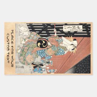 Señora clásica del geisha del vintage japaese pegatina rectangular