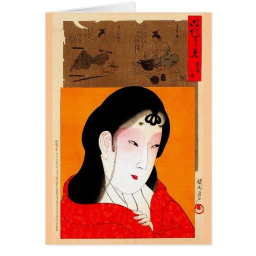 Señora clásica japonesa oriental fresca del geisha tarjeta pequeña