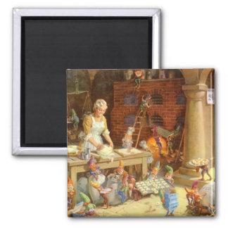 ¡Señora Claus Bakes Cookies con los duendes de San Imán Cuadrado