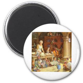 ¡Señora Claus Bakes Cookies con los duendes de San Imán Redondo 5 Cm