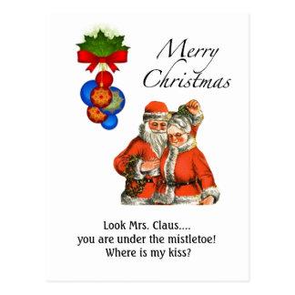 ¡Señora Claus de las Felices Navidad debajo del Tarjetas Postales