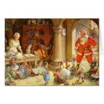 Señora Claus y duendes de Santas que cuecen las ga Felicitación