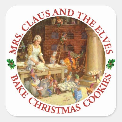 Señora Claus y los duendes de Santa cuecen las Pegatina Cuadrada