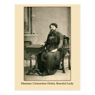 Señora Clementine Delait, señora barbuda Postal