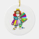 Señora Clown con la fan Ornamentos De Reyes
