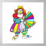 Señora Clown con la fan Posters