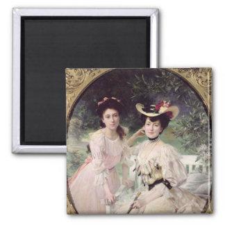 Señora Collas y su Daughter, Giselle, 1903 Imán Cuadrado