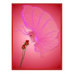 Señora color de rosa Butterfly Postcard Postales