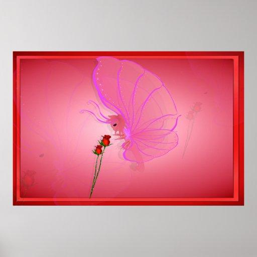 Señora color de rosa Butterfly Print Póster