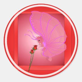 Señora color de rosa Butterfly Sticker Pegatina Redonda