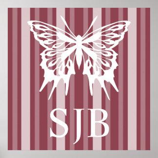 Señora color de rosa oscura Stripe del Victorian c Posters