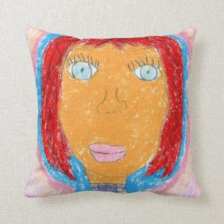 Señora colorida Artwork Portrait del creyón Almohada
