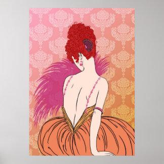 Señora con damasco - BIANCA del art déco: Mezcla d Poster