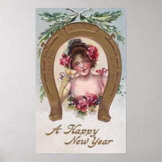 Señora con el Año Nuevo antiguo de Champán Poster