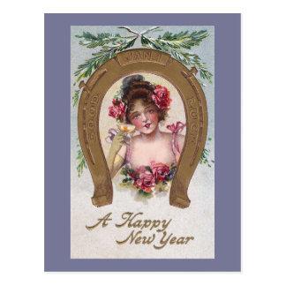 Señora con el Año Nuevo antiguo de Champán Tarjeta Postal
