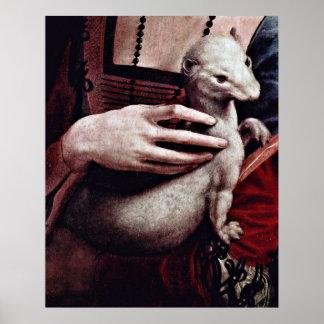 Señora con el armiño (detalle) por Leonardo da Vin Posters
