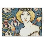 """Señora con el arte Nouveau """"centavo del ~ de las f Tarjetas"""