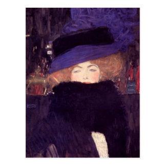 Señora con el gorra y la boa de Gustavo Klimt Tarjeta Postal