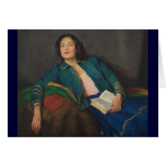 Señora con el libro tarjeta