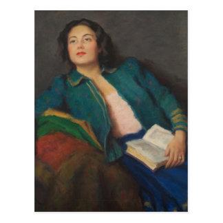 Señora con el libro tarjetas postales