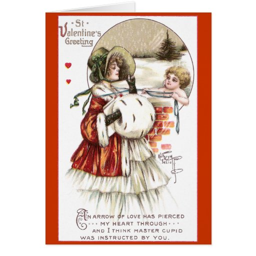 Señora con el manguito y el Cupid Tarjeta De Felicitación
