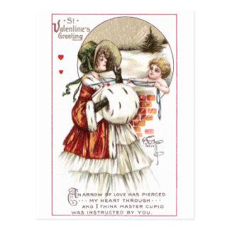 Señora con el manguito y el Cupid Postales
