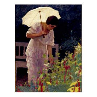 Señora con el paraguas postal