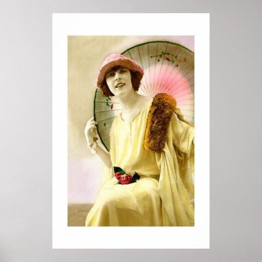 Señora con el parasol póster