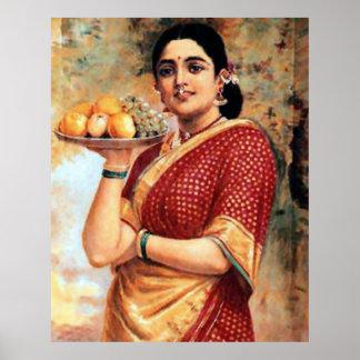 Señora con el poster grande de las frutas póster