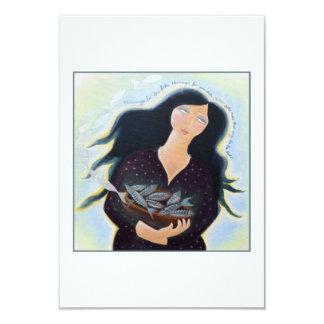"""Señora con la cesta de pescados invitación 3.5"""" x 5"""""""
