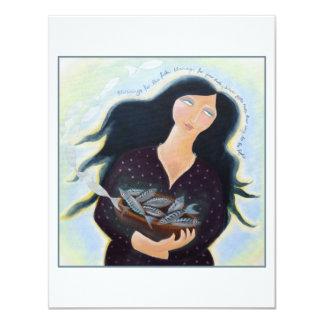 """Señora con la cesta de pescados invitación 4.25"""" x 5.5"""""""