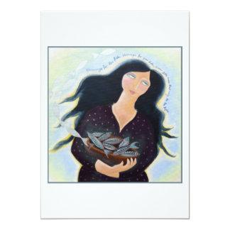 """Señora con la cesta de pescados invitación 5"""" x 7"""""""