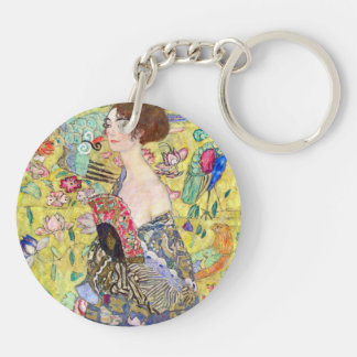 Señora con la fan de Gustavo Klimt, Japonism del Llavero Redondo Acrílico A Doble Cara