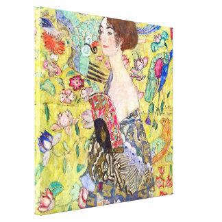 Señora con la fan de Gustavo Klimt, Japonism del Lona Estirada Galerías
