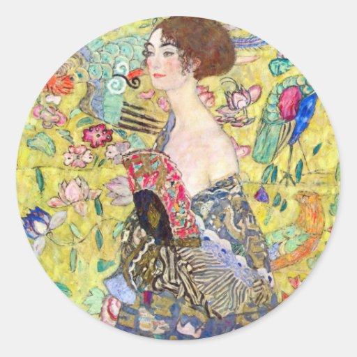 Señora con la fan de Gustavo Klimt, Japonism del Pegatina Redonda