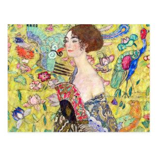 Señora con la fan de Gustavo Klimt Japonism del v Tarjetas Postales