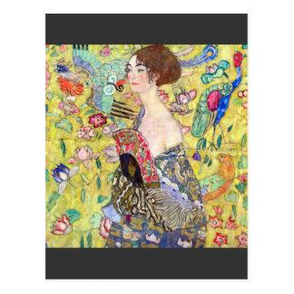 Señora con la fan de Gustavo Klimt Tarjetas Postales