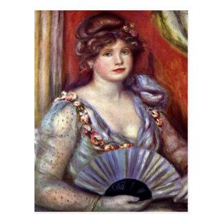 Señora con la fan de Pedro Renoir Tarjeta Postal