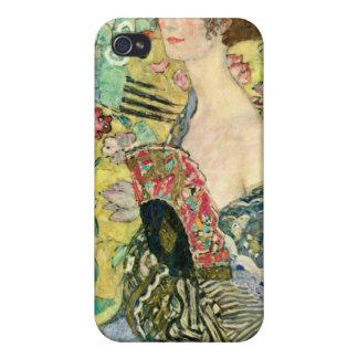 Señora con la fan - Gustavo Klimt iPhone 4 Protectores
