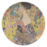 Señora con la fan - Gustavo Klimt Plato Para Fiesta