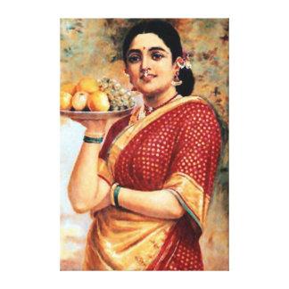Señora con la impresión del arte de las frutas impresion en lona