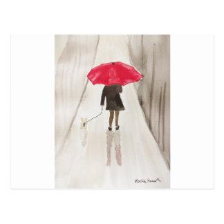 Señora con la impresión roja del arte del paraguas postal