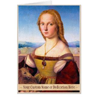 Señora con la pintura del retrato de Raphael Santi Tarjeta Pequeña