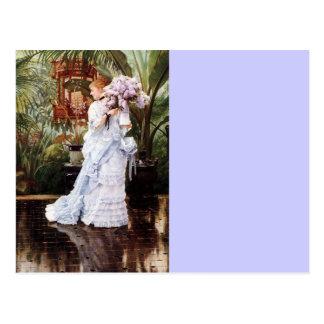 Señora con las lilas postales