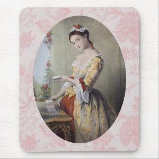 Señora con las tarjetas alfombrilla de raton