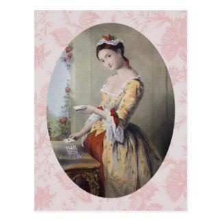 Señora con las tarjetas tarjeta postal