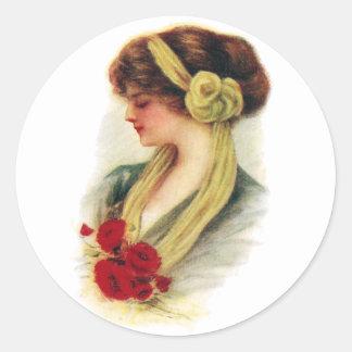 Señora con los rosas pegatinas redondas